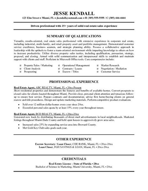 Resume Sles Real Estate real estate sales resume
