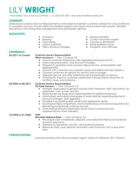simple customer service representative resume exle livecareer