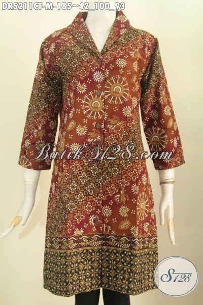 Model Langsung dres batik perempuan masa kini hadir dengan model kerah