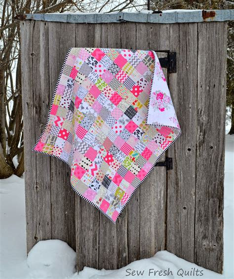 Patchwork Quilt Pink - sew fresh quilts pretty in pink patchwork baby quilt