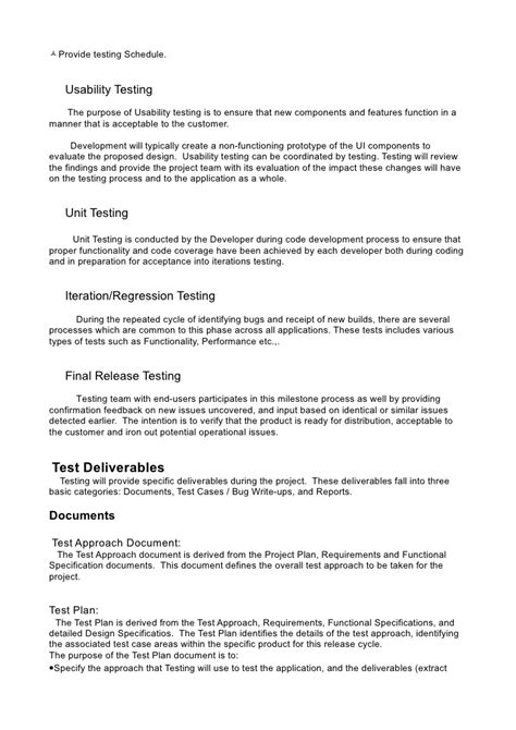 usability test plan template test plan