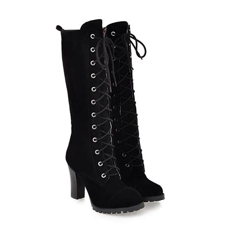 size 33 43 classics warm high heels boots lace up