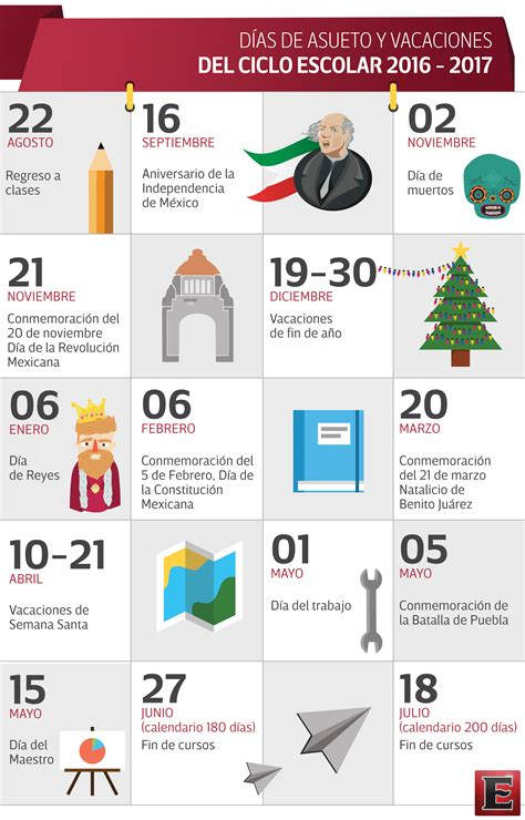 Calendario 2017 Vacaciones Vacaciones Y Descansos En El Ciclo Escolar 2016 2017
