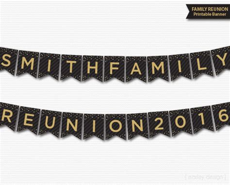 printable descendants banner family reunion banner printable personalized customized black