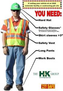 Safety gear requirements site contracting excavating services crushed