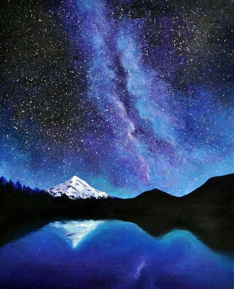 watercolor tutorial starry night acrylic painting starry night with silhouette mountains