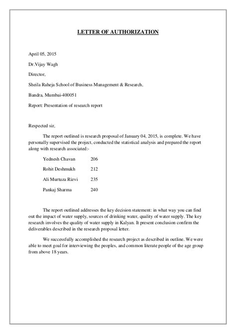 authorization letter format for water connection mba 1st year statitics data analytics project