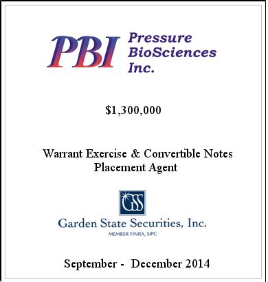 garden state securities selected transactions