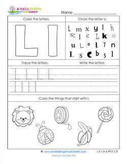 L Sound Worksheets by Abc Worksheets Letter L Alphabet Worksheets A Wellspring