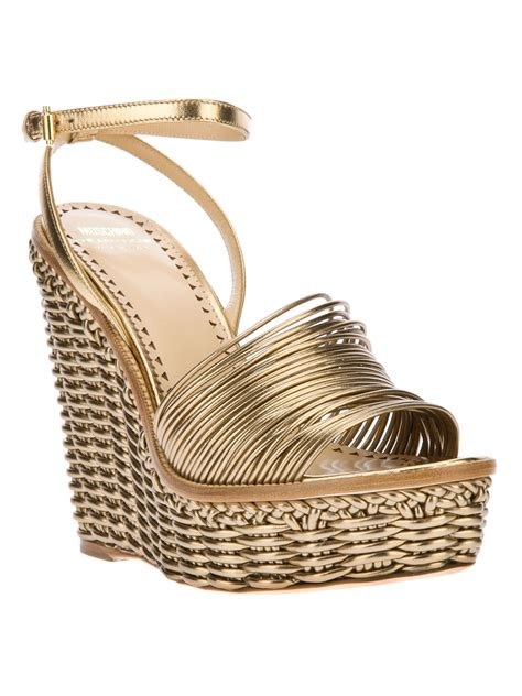 wedges sandals cheap moschino cheap chic woven wedge sandal in gold lyst