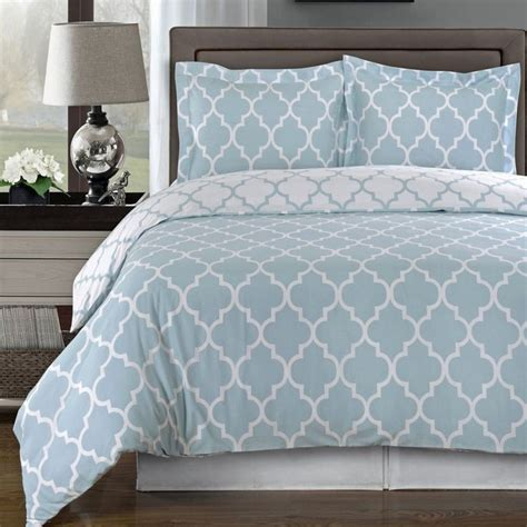 blue patterned bedspread modern moroccan quatrefoil light blue white 3pc cotton