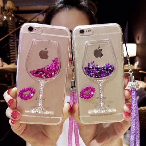 Iphone 6 6s 3d Bowknot Lucky Cat Silicone Cases Cover T1910 6 bling bling iphone 7 8 plus liquid wine cup glitter cases