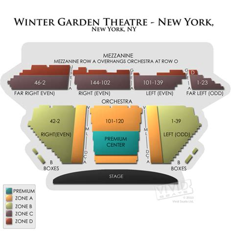 winter garden theatre ny seating chart seats