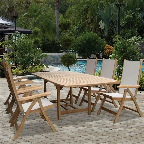 royal terrace outdoor furniture royal teak collection florida 6 person sling dining set w 96 inch family expansion table