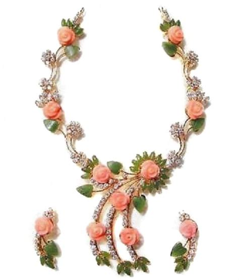 silver palace coral flower and jade marquise leaf