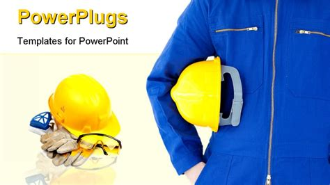safety gear kit close up over white powerpoint template