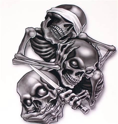 hear no evil see no evil speak no evil tattoo hear speak see no evil skull sticker window decals