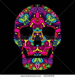 day of the dead colors psychedelic 60s hippie ornament flyer poster stock vector