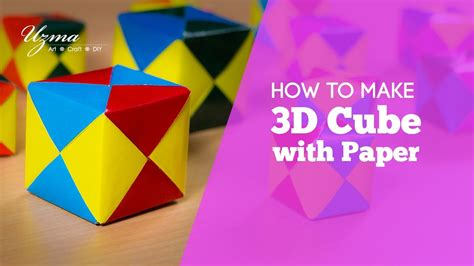 How To Make A 3d Box Out Of Construction Paper - how to make 3d cube with paper origami easy craft idea