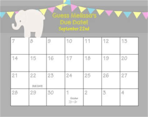 Baby Shower Calendar Template by Printable Guess Baby Date Calendar Template 2016