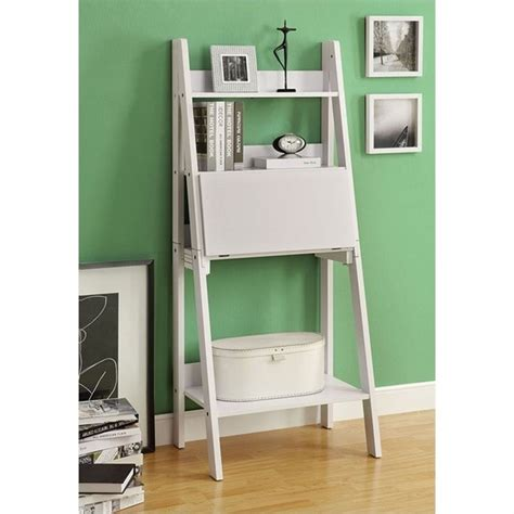 61 quot ladder bookcase with drop desk in white i 7040