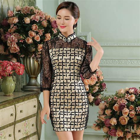 Sleeve Lace Qipao gorgeous plaid lace sleeves silk qipao cheongsam dress