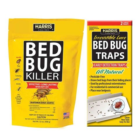 harris 32 oz diatomaceous earth bed bug killer and bed