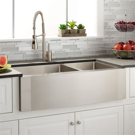 stainless farmhouse kitchen 36 quot optimum 60 40 offset double bowl stainless steel