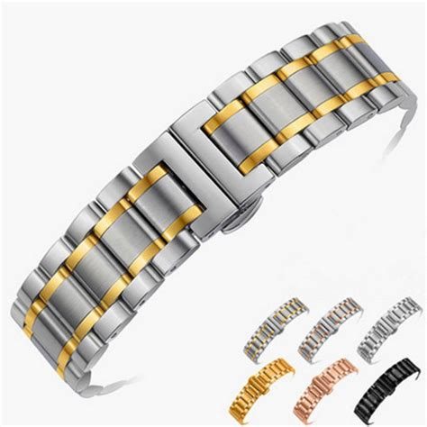 Gel Black Dia 16 Mm 14mm 16mm 18mm 20mm 22mm 24mm stainless steel band bracelet watchband wristband
