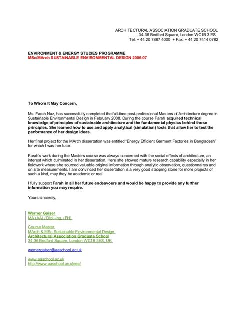 Recommendation Letter Architecture Reference Letter Werner Architectural Association Sed Tutor