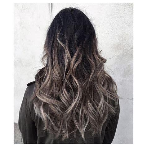 dark ash blonde balayage on dark hair ash grey balayage on black hair