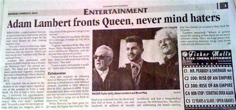 entertainment section meaning adam lambert march 2014