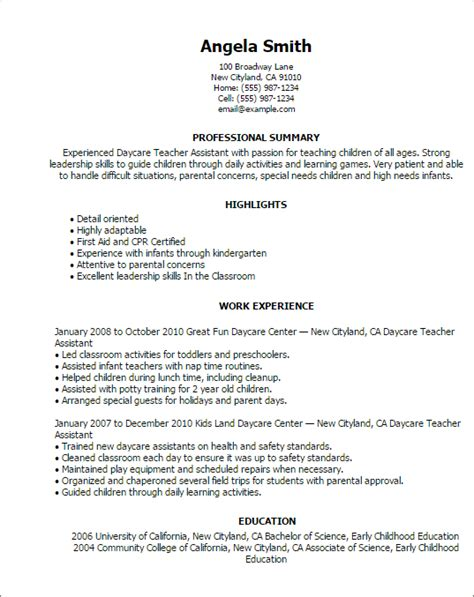 daycare assistant resume sle professional daycare assistant templates to showcase your talent myperfectresume