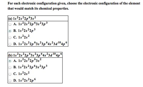 tutorial questions on electron configuration solved for each electronic configuration given choose th