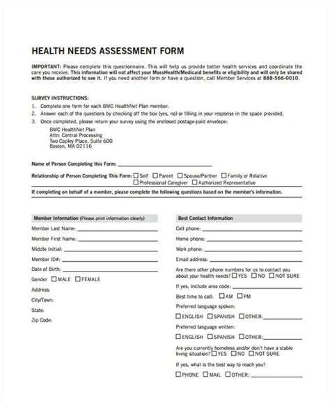 health care needs assessment template health assessment form exle