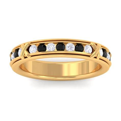 Black Onyx IJ SI Diamond Full Eternity Womens Wedding Ring