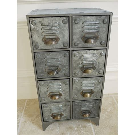 vintage retro style industrial metal cabinet 8 drawer