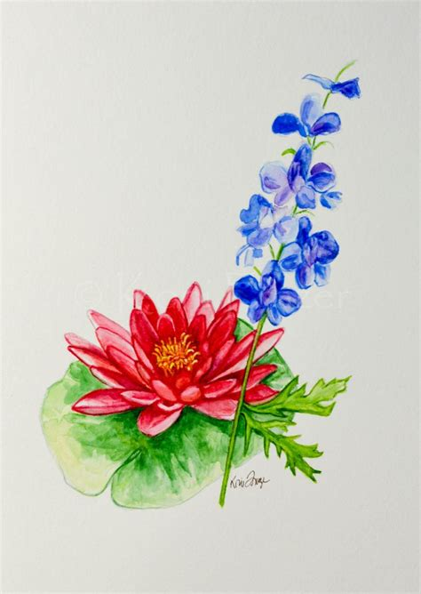 flower tattoo etsy water lily and larkspur july birthday flower original
