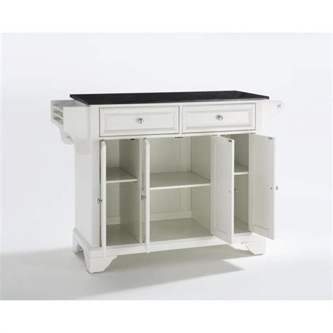 black kitchen island with granite top crosley furniture lafayette solid black granite top kitchen island in white kf30004bwh