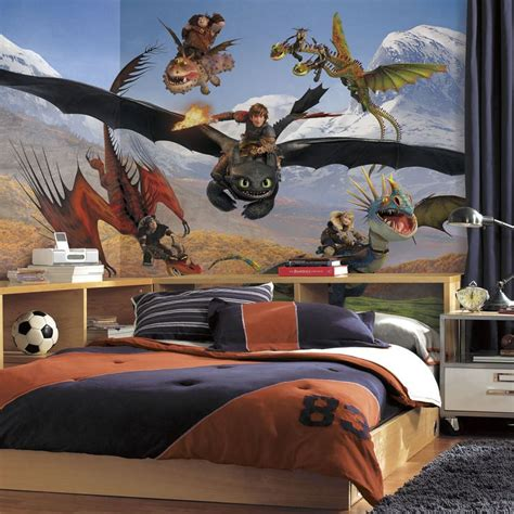 dragon bedroom decor new xl how to train your dragon prepasted wallpaper mural boys room wall decor