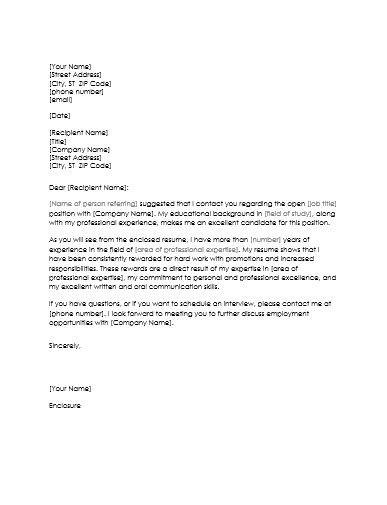 Cover Letter When Referred 5 sles for resume cover letter when referred
