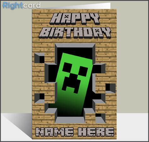 minecraft happy birthday card template minecraft birthday card search greeting cards