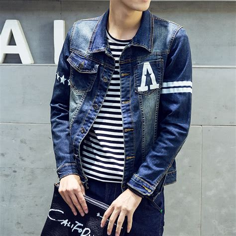 design jean jacket denim jacket men printed logo 2016 new spring fashion