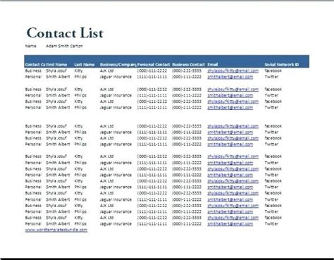 contact list template excel virtuart me
