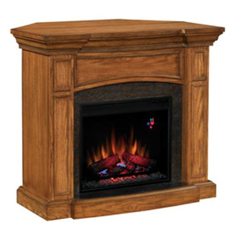 corner wall mount electric fireplace shop chimney free 44 quot premium oak corner or wall mount