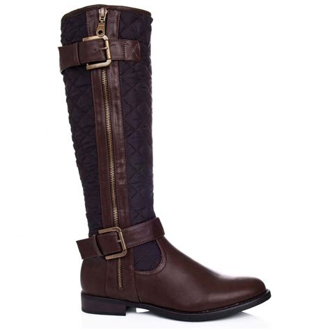 buy oasis flat knee high biker boots brown leather style