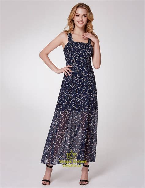 l ratu square maxi simple square neck sleeveless chiffon floral maxi dress