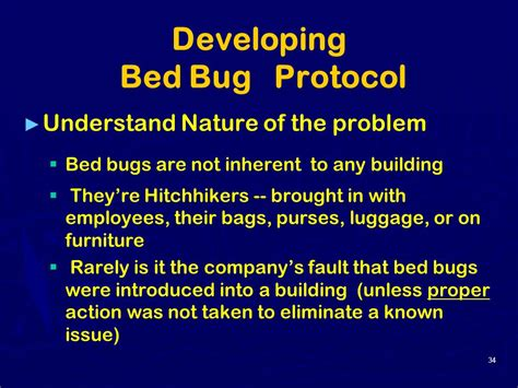 bed bug protocol bed bugs other annoying issues in the workplace ppt