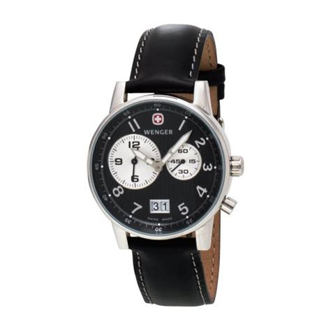 Swiss Army Sa2013m Black Leather wenger s 74715 commando dual time 2 eye black black leather uuclsbms