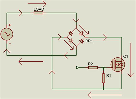 diode bridge mosfet controlling an ac load with a mosfet